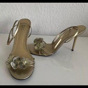 BCBG Paris Metallic Ankle Strap Heels Sz 10 Sz 40